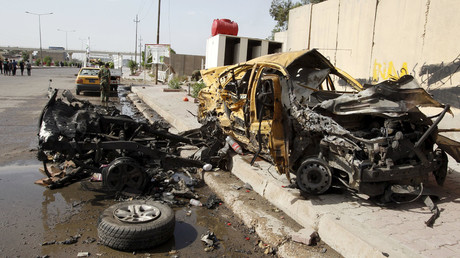 The remains of the car that exploded in the Saydiya district of southern Baghdad, Iraq May 2, 2016. © Khalid al Mousily