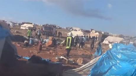 A screenshot from a YouTube video posted by the Syria Civil Defense group allegedly showing the aftermath of an airstrike on a Syrian refugee camp in the town of Sarmada near Aleppo on May 5, 2016 (YouTube / media.civildefense idlib)