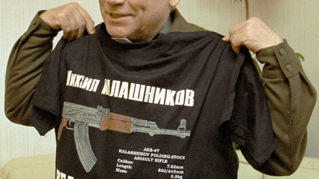 Outstanding Russian gunsmith Mikhail Kalashnikov, who designed the famous Kalashnikov assault rifle, with T-shirt. © 