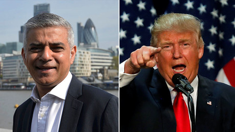 Britain's newly elected mayor Sadiq Khan (L) and Republican U.S. presidential candidate Donald Trump. © Reuters