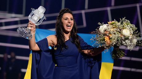 Ukraine's Jamala reacts on winning the Eurovision Song Contest final at the Ericsson Globe Arena in Stockholm, Sweden, May 14, 2016 © Maja Suslin