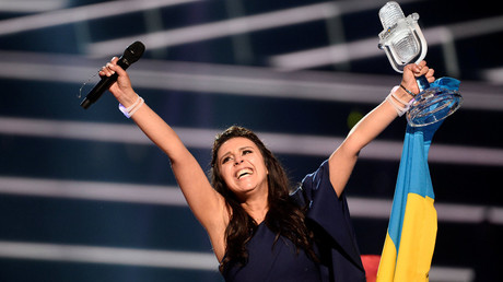 Ukraine's Jamala reacts on winning the Eurovision Song Contest final at the Ericsson Globe Arena in Stockholm, Sweden, May 14, 2016. © Maja Suslin