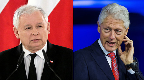 Leader of the Law and Justice party Jaroslaw Kaczynski (L) and Former U.S. President Bill Clinton. © Reuters