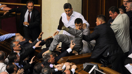Deputies clash during a session of the parliament in Kiev © Alexei Furman