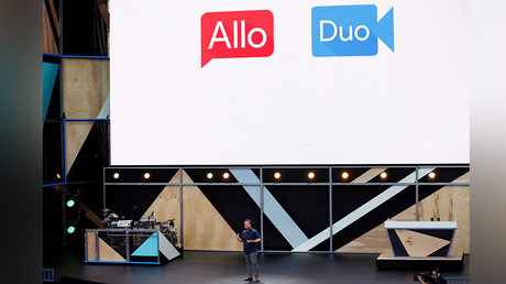Erik Kay, engineering director at Google, introduces Allo and Duo on stage during the Google I/O 2016 developers conference in Mountain View, California May 18, 2016. © Stephen Lam