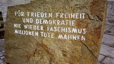 A memorial stone at the site of the birth of Adolf Hitler. © Wikipedia