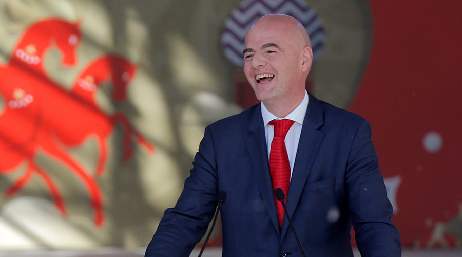 FIFA President Gianni Infantino attend the launching ceremony of the 2018 World Cup and 2017 Confederations Cup volunteer campaign in Moscow. ©Maxim Shemetov