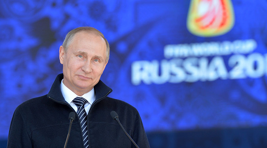 Russian President Vladimir Putin at the ceremony to launch the volunteer program of the 2017 FIFA Confederations Cup and the 2018 FIFA World Cup. © Alexei Druzhinin