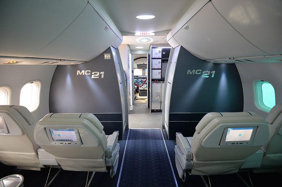 The interior of the Irkut Company's MC-21 aircraft. ©Aleksey Kudenko