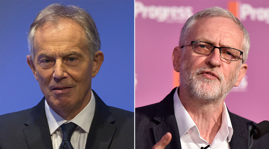 Former British Prime Minister Tony Blair and Britain's opposition Labour Party leader Jeremy Corbyn. ©Reuters