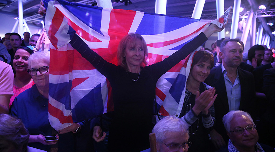 A Brexit supporter holds a Union Flag at a Vote Leave rally in London, Britain © Neil Hall