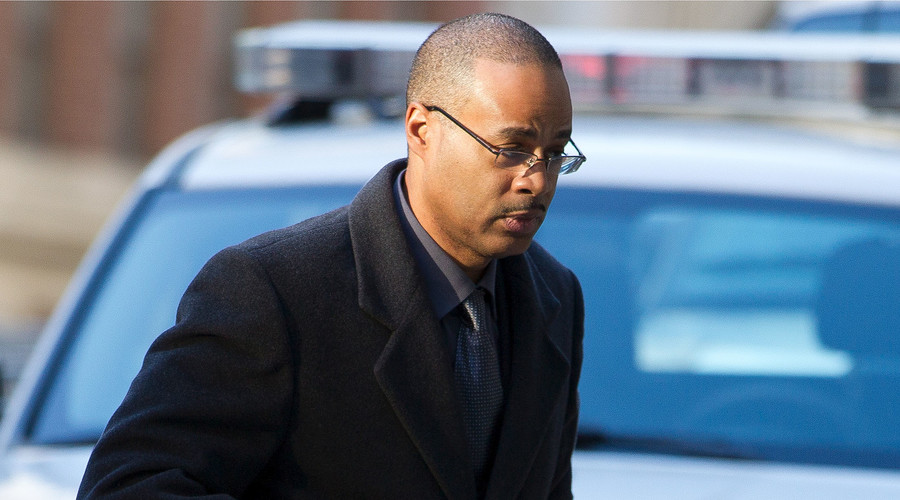 Baltimore Police officer Caesar Goodson Jr., 46, the third officer to face trial for Freddie Gray's death in a police van, arrives at the courthouse. File photo. © Jose Luis Magana