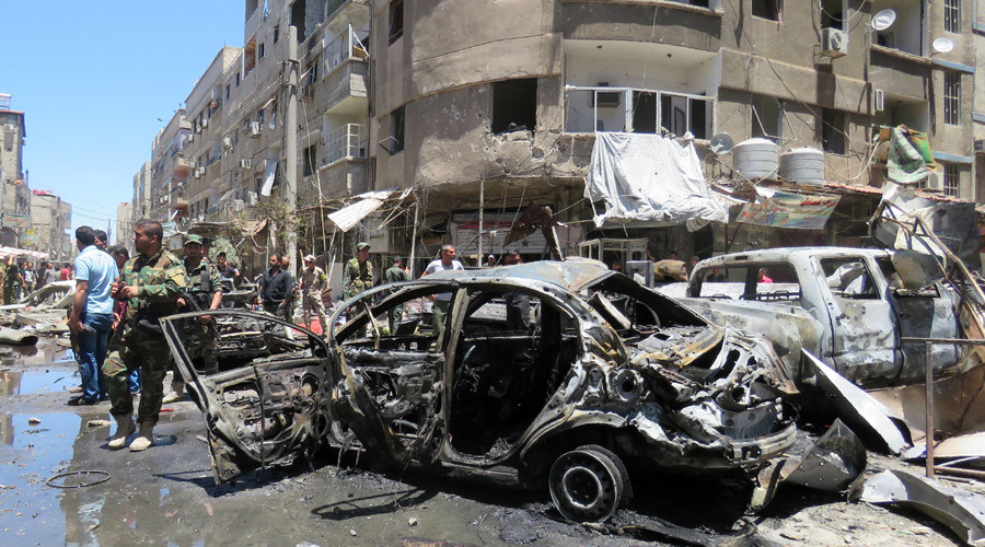16 killed as twin blasts rock town 10km from Damascus