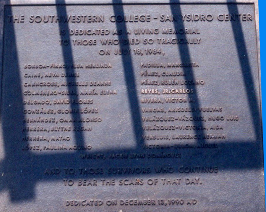 A memorial of the fatalities that occured on July 18, 1984. © Wikipedia