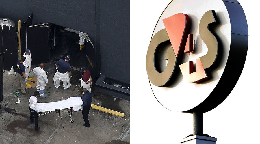 Investigators work the scene following a mass shooting at the Pulse gay nightclub in Orlando Florida, U.S. June 12, 2016 (L), logo of G4S (Group 4 Securicor). © Reuters