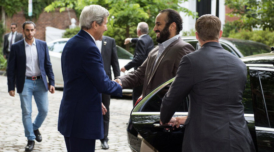US Secretary of State John Kerry (L) greets Saudi Deputy Crown Prince Mohammed bin Salman outside Kerry's residence prior to their meeting on June 13, 2016, in Washington, DC. © Molly Riley