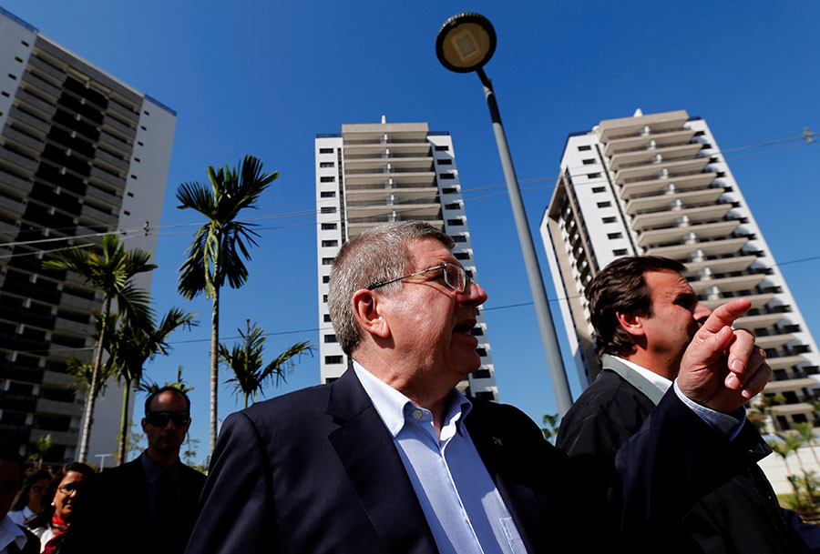 President of the International Olympic Committee (IOC) Thomas Bach attends the opening ceremony of the Olympic Village in Rio de Janeiro, Brazil June 15, 2016. ©Sergio Moraes