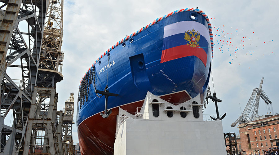 Russia floats out Arktika icebreaker, set to be world's largest (VIDEO)