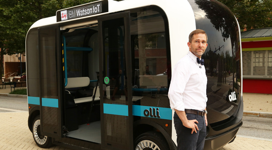 Self-driving 3D printed bus named 'Olli' can be hailed via app & learn skills (VIDEO)