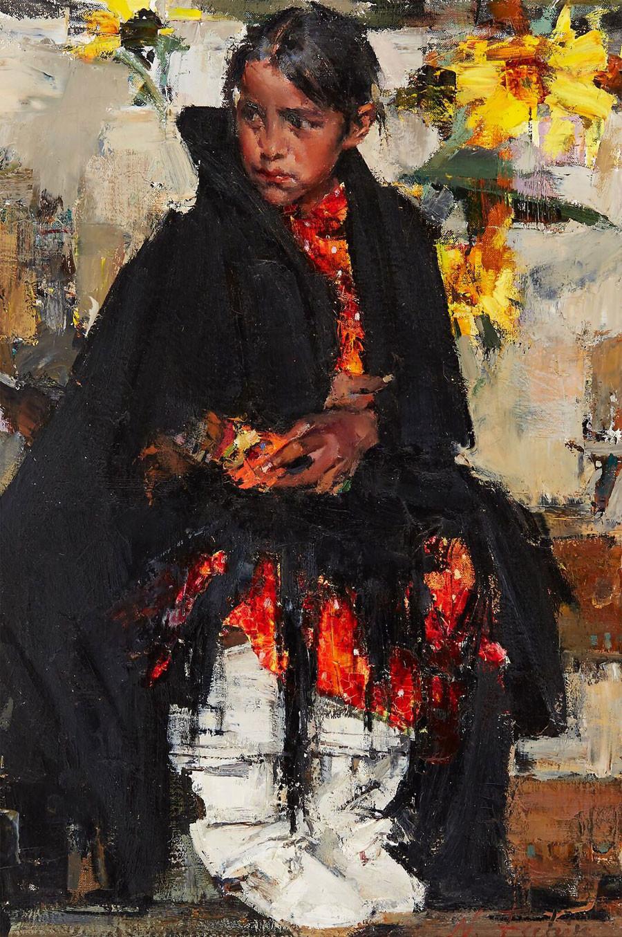 Nicolai Fechin. Indian Girl with Sunflowers © Art Russe
