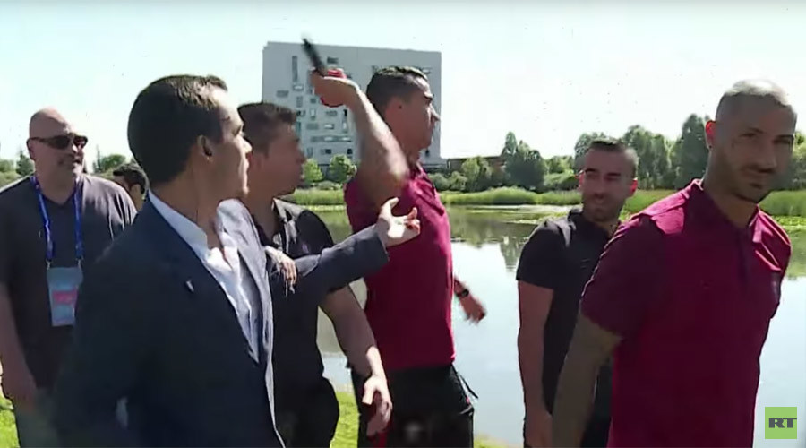 Euro 2016: Angry Cristiano Ronaldo throws reporter's mic into lake