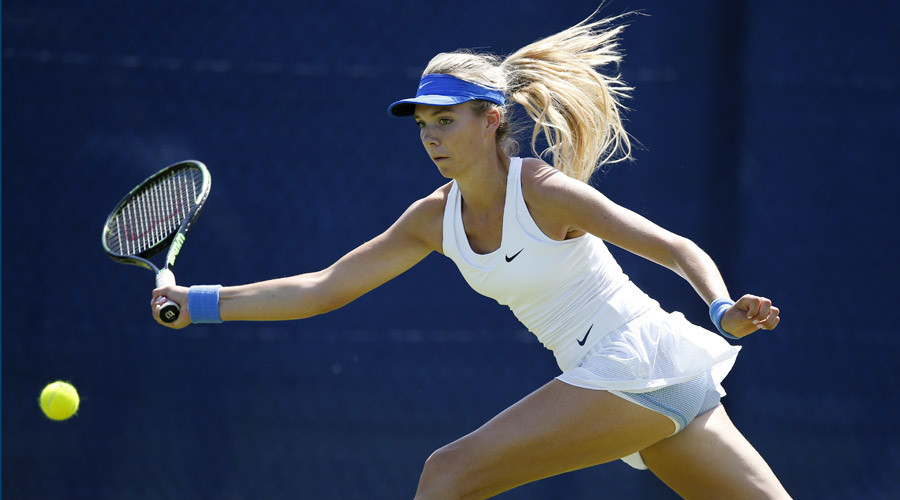 Great Britain's Katie Boulter in action during the qualifying round © Peter Cziborra