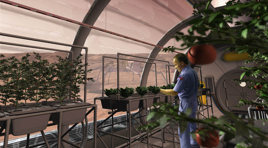 An artist concept depicts a greenhouse on the surface of Mars. © NASA