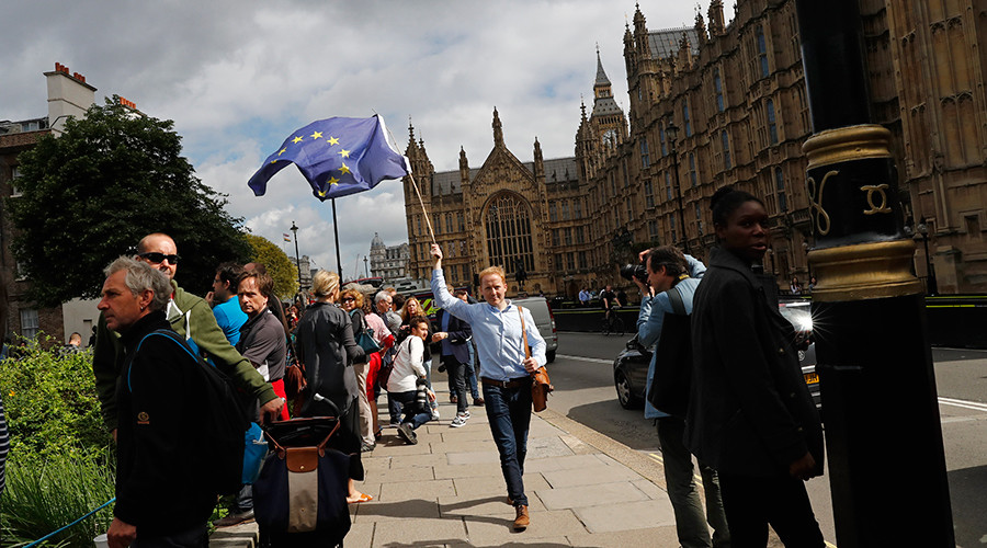 A man carries a EU flag, after Britain voted to leave the European Union, in central London, Britain June 24, 2016 © Stefan Wermuth