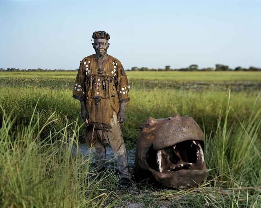 André and a hippo in Djifoloma, Burkina Faso.