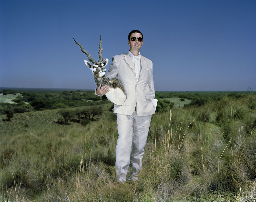 Luis and a black buck in Pampa Province, Argentina.