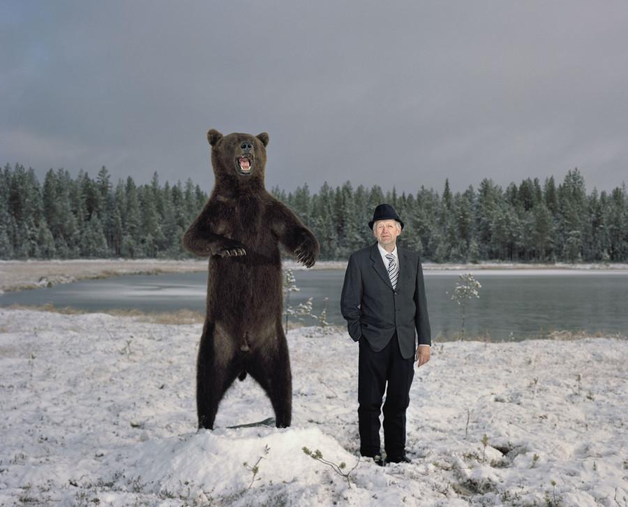 Esso and a bear in Posio, Finland.