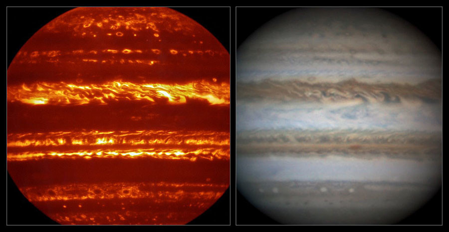 This view compares a lucky imaging view of Jupiter from VISIR (left) at infrared wavelengths with a very sharp amateur image in visible light from about the same time (right). © ESO / L.N. Fletcher / Damian Peach