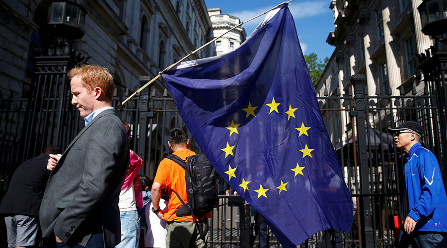A man with a EU flag, after Britain voted to leave the European Union, Downing Street, London © Neil Hall
