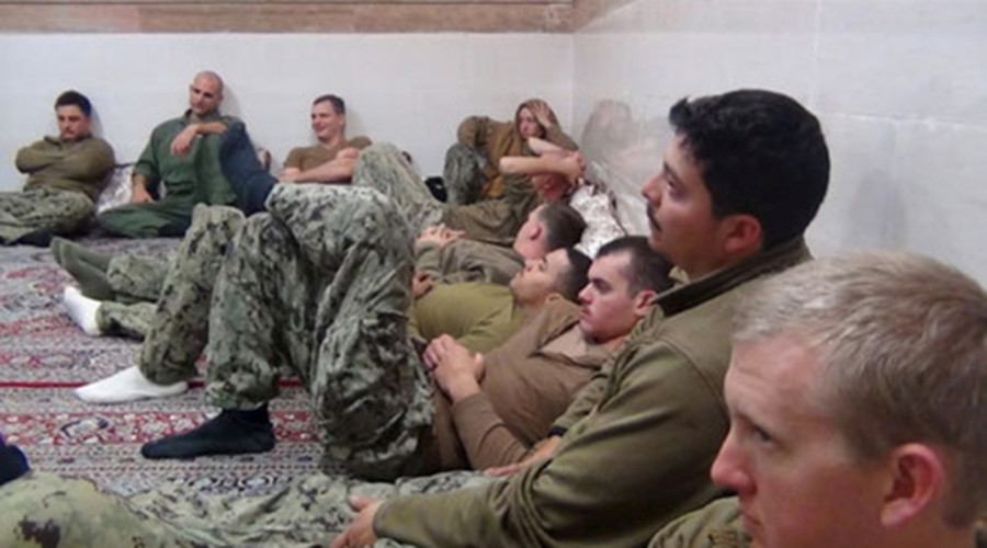 FILE PHOTO: An undated picture released by Iran's Revolutionary Guards website shows American sailors sitting in an unknown place in Iran © TIMA