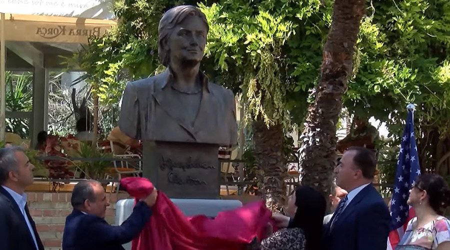 She's not president yet! Hillary Clinton gets monument in Albania (VIDEO)
