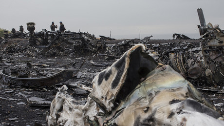 © People talk near the remains of fuselage of the downed Malaysia Airlines flight MH17, near the village of Grabovo in Donetsk region, September 9, 2014. © Marko Djurica