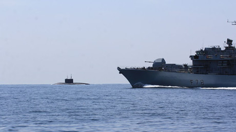 HMS Kent shadows the Russian submarine in North Sea. © royalnavy.mod.uk