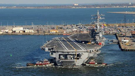 Tug boats assist the Nimitz-class aircraft carrier USS Dwight D. Eisenhower © Ryan D. McLearnon