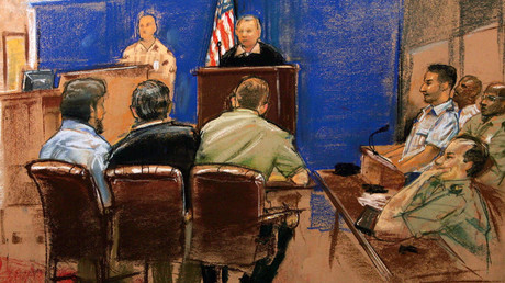 In this military tribunal drawing by sketch artist Janet Hamlin Guantanamo detainee Abdul Zahir, (bottom, L) sits beside his translator, name not permitted, and lawyer Lt. Col. Thomas Bogar, during a military tribunal hearing at Guantanamo Bay U.S. Naval Base, Cuba April 4, 2006. © Janet Hamlin