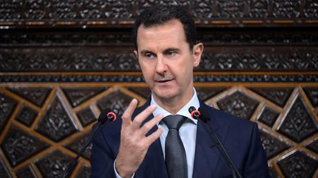 Syria's president Bashar al-Assad speaks to Parliament members in Damascus, Syria, June 7, 2016. © SANA