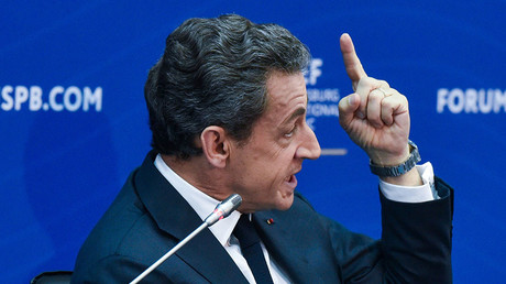 Nicolas Sarkozy, who was the President of France in 2007-2012, speaks at the St. Petersburg International Economic Forum. © Stoyan Vassev / TASS