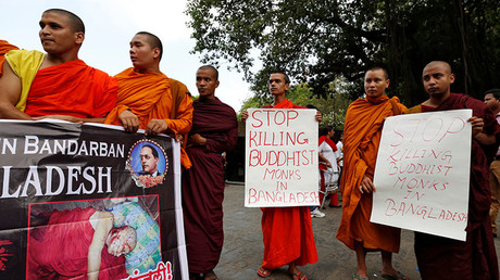 Buddhist monks participate in a protest against the murder of a monk in Bangladesh, in Mumbai, India, May 23, 2016. ©Danish Siddiqui