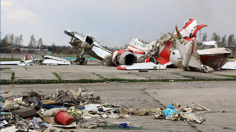 The debris of Polish President Lech Kaczynski's Tu-154 aircraft at Smolensk airfield's secured area. © Oleg Mineev