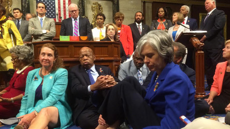 Democratic members of the House staging a sit-in on the House floor