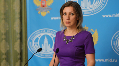 The Russian Ministry's spokesperson Maria Zakharova briefing journalists on current political affairs. © Mikhail Voskresenskiy