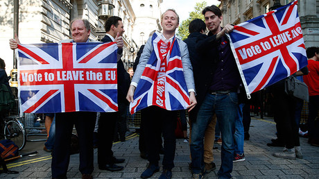 Vote leave supporters wave Union flags, following the result of the EU referendum, outside Downing Street in London, Britain June 24, 2016 © Neil Hall