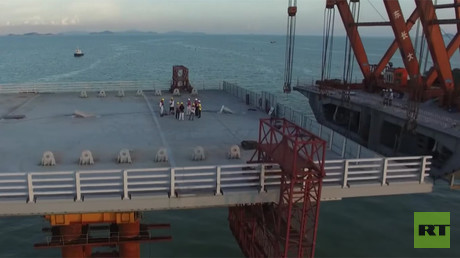 Drone buzzes giant 50km Hong Kong-Macao bridge stabilised for typhoons