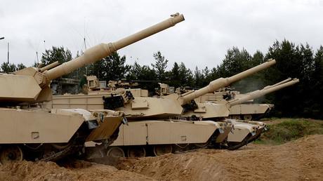 U.S. M1 Abrams tanks take part in the NATO military exercise