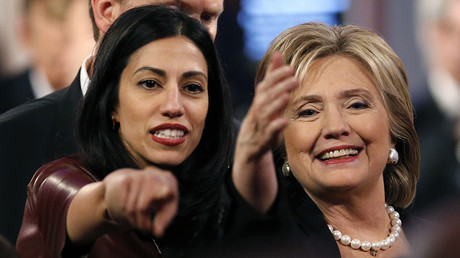 Huma Abedin (L), aide to Democratic U.S. presidential candidate and former Secretary of State Hillary Clinton. © Jim Young