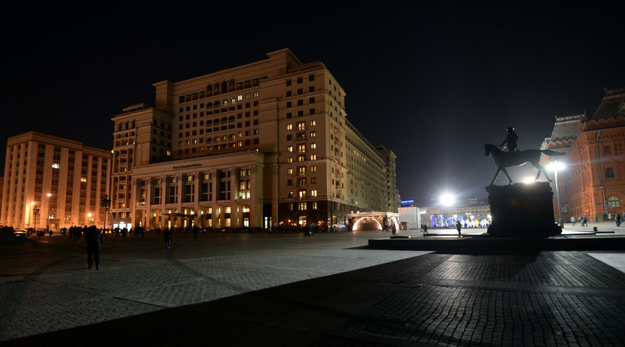 The Four Seasons Hotel Moscow on Manezhnaya Square before the Earth Hour within which the illumination was switched off. © Grigoriy Sisoev